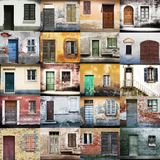 Typical vintage wooden doors collage Royalty Free Stock Images