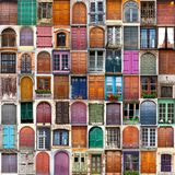 Typical vintage wooden doors collage Stock Photo