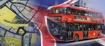 London map and a tour bus Royalty Free Stock Photos