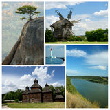 Collage of ukrainian cultural and nature landmarks Stock Photos