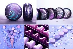 Collage with Ultra Violet sweets. Macarons and confetti. Five images in one Stock Images