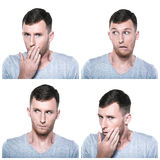 Collage of unconfident, unsure, worriedface expressions. On white background stock photography