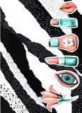 Collage in uno stile della rivista di moda con le labbra e gli occhi pazzi della ragazza Bocca della ragazza e primo piano degli  royalty illustrazione gratis