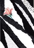 Collage in uno stile della rivista di moda Fiore su fondo grafico in bianco e nero illustrazione vettoriale