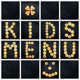 Collage of the uppercase letter - words KIDS MENU Royalty Free Stock Image