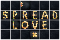 Collage of the uppercase letter - words SPREAD LOVE Royalty Free Stock Images