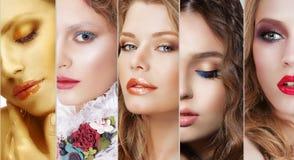 collage Uppsättning av kvinnors framsidor med olik färgrik makeup Arkivfoton