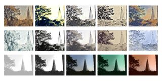 Collage of an urban area - Church Royalty Free Stock Images