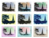 Collage of an urban area - Church. Collage of an urban area of a beautiful city with a church in the background vector illustration