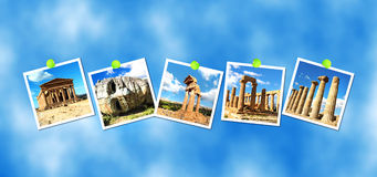 Collage at Valley of The temples, Sicily, Italy Royalty Free Stock Images