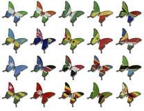 Collage van Afrikaanse vlaggen op vlinders Stock Afbeelding