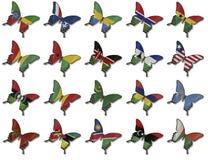 Collage van Afrikaanse vlaggen op vlinders Stock Foto's