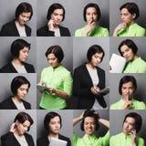 Collage van bedrijfsvrouwenemoties Stock Afbeeldingen