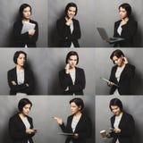 Collage van bedrijfsvrouwenemoties Stock Foto's