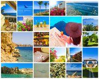 Collage van beelden van de vakantie van Egypte Sharm el Sheikh stock afbeelding