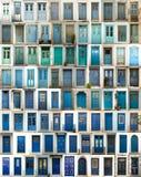 Collage van blauwe deuren royalty-vrije stock fotografie