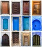 Collage van bruine en blauwe deuren in Marokko Royalty-vrije Stock Afbeeldingen