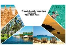 Collage van de beelden van het de zomerstrand - aard en reisachtergrond Royalty-vrije Stock Afbeelding