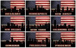 Collage van de beroemde steden van de V.S. van M aan P royalty-vrije illustratie