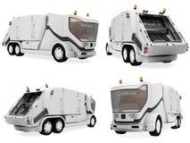 Collage van de geïsoleerdeo vrachtwagen van het conceptenafval Stock Afbeeldingen