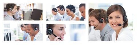 Collage van de hulpteam van de Klantendienst in call centre royalty-vrije stock afbeeldingen