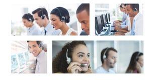 Collage van de hulpteam van de Klantendienst in call centre royalty-vrije stock foto's