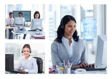 Collage van de hulpteam van de Klantendienst in call centre stock fotografie