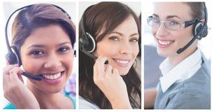 Collage van de hulpteam van de Klantendienst in call centre royalty-vrije stock fotografie