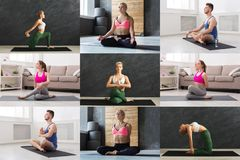 Collage van de jonge mens en vrouwen die yoga uitoefenen royalty-vrije stock afbeeldingen