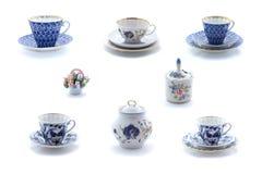 Collage van de koppen en de schotels van de porseleinthee met bloemornament royalty-vrije stock fotografie