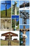 Collage van de kruisen van Jesus Stock Afbeelding