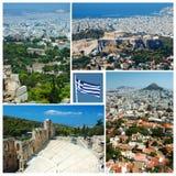 Collage van de oriëntatiepunten van Athene, Griekenland, Unesco-erfenis Royalty-vrije Stock Foto's