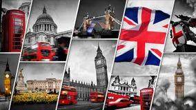 Collage van de symbolen van Londen, het UK stock afbeeldingen