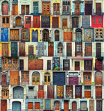 Collage van de voordeuren van Kiev, de Oekraïne stock afbeeldingen