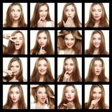 Collage van de vrouw van het schoonheidsgezicht Mooi van jonge meisjesglimlach stock afbeelding