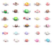Collage van Dertig Verschillende Aroma's van Zout Water Taffy stock afbeelding