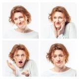 Collage van dezelfde volwassen vrouw die verschillende uitdrukkingen maken Het schot van de studio stock foto's