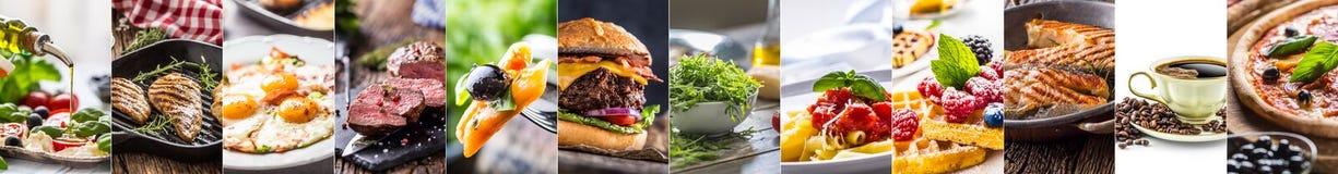 Collage van divers voedsel - van het de hamburgerlapje vlees van de saladepizza van de de deegwarenkoffie de eieren en de wafels royalty-vrije stock foto's