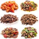 Collage van diverse maaltijd met vlees en kip stock fotografie