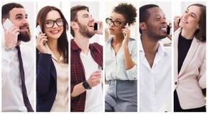 Collage van diverse mensen die op mobiel spreken Royalty-vrije Stock Foto's