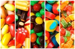 Collage van diverse snoepjes Stock Afbeelding