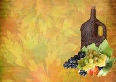 Collage van druiven en een fles wijn voor dankzegging stock afbeeldingen