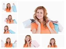 Collage van een vrouw met het winkelen zakken stock foto