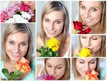 Collage van een vrouw met verscheidene type van bloemen royalty-vrije stock foto's