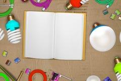 Collage van elektrische gereedschappen op haveloos karton met leeg notitieboekjedocument en geleide gloeilampen, soldeerbout, PCB Stock Fotografie