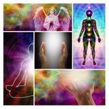 Collage van engelen de helende handen Stock Foto's