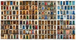 Collage van Europese deuren stock afbeelding