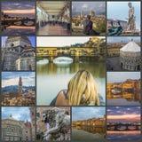 Collage van foto's van de gezichten van Florence Italië royalty-vrije stock fotografie