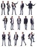 Collage van foto's van een succesvolle jonge mens stock foto