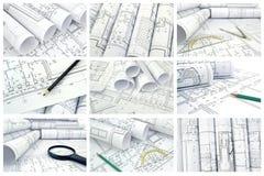 Collage van foto's van tekeningen Stock Foto